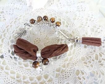 Tiger Eye Bracelet, Brown Turkish Silk Bracelet, Brown Tassel Bracelet, Leaf Bracelet, Bohemian Bracelet, Gift for her