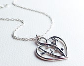 All Sterling Silver Open Heart Necklace Tree of Life, Dainty Mother's Wife's Anniversary necklace Sterling Jewelry
