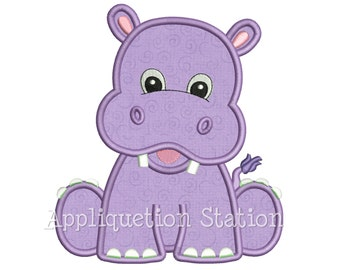 Zoo Baby Hippo Applique Machine Embroidery Design Boy Girl Safari Cute animal hippopotamus INSTANT DOWNLOAD
