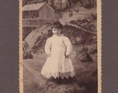 Cabinet Card of a Well Dressed Child ~ Amazing Backdrop