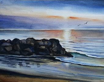 Original Watercolor of Newport Rocks