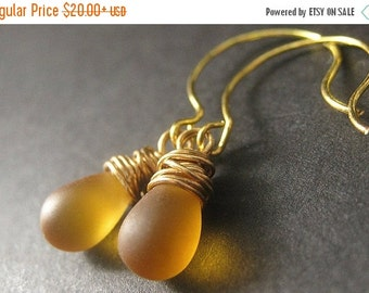 VALENTINE SALE Wire Wrapped Earrings - Amber Frosted Glass Teardrops in Gold. Handmade Jewelry.