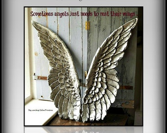 Angel Wings At Rest / 6'' x 8''  / Photo Gift / Ready To Display  / Art Adhered To Wood Customizing Available / Handmade Photo Gift