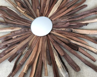 Natural Walnut Starburst with Convex Mirror, Ready to Ship