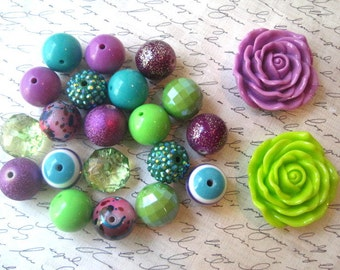 Necklace Kit, Purple, Lime Green and Teal Beads, Chunky Gumball Bead Kit, Bubblegum Necklace Kit, Hardware Included, DIY Necklace