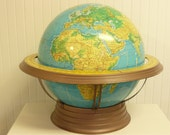 """XTRA LARGE World Globe, Cram's 16"""" Terrestrial Globe, Physical Political with Metal Art Deco Stand"""