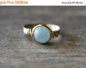 Summer Love Sale Aquamarine Ring, 14k Gold Filled Aquamarine Wire Wrapped Ring Gemstone Ring, Stone Ring