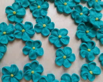 Mini teal royal icing flowers  -- Edible cake decorations cupcake toppers edible (24 pieces)