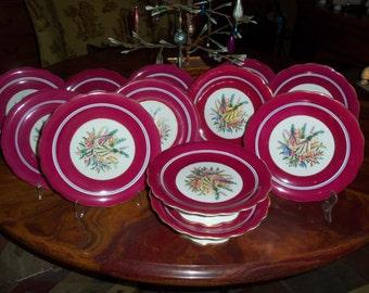 Antique English Longton Dessert Set/10 Luncheon Plates/2 Cake Stands/Botanical Center/Fancy Dishes/Dinner Party/Wedding Gift /Rose Border