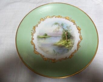 Antique Plates/6 Limoges Display Plates/France/22 kt Raised Gold/Grissaille Hand Painted Center/Landscape Scene/Green Border/Harper Artist