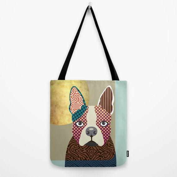 Boston Terrier Gift, Dog Tote Bag, Animal Tote Bag, Dog Lover Gift Tote Bag, Animal Lover Gift, Colourful