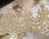 gold lace trim, gold alencon lace trim,scalloped lace in gold, gold cord lace