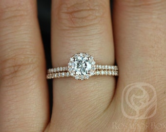 Kubian 5mm 14kt Rose Gold Round F1- Moissanite and Diamonds Halo Wedding Set (Other metals and stone options available)
