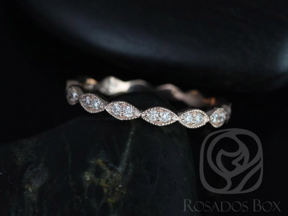 Leah 14kt Rose Gold Extra Low Profile  Leaves Double Diamond FULL Eternity Band (Other Metals and Stone Options Available)