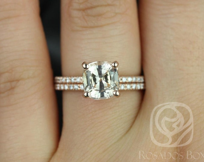Featured listing image: Heidi 2.62cts 14kt Rose Gold Cushion Honey Champagne Peach Sapphire and Diamond Basket Wedding Set