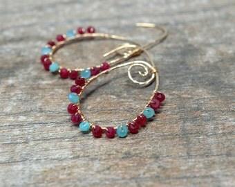 Gemstone hoop earrings Bohemian hammered hoop Spiral earrings Wire wrapped gemstone Aqua chalcedony and Ruby earrings Gold teardrop hoop