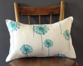 SALE! White Pillow with Turquoise Blue Dandelions - Floral Accent Pillow - 12X18 Inches - Flowers - Modern Cushion Cover - Decorative Cover