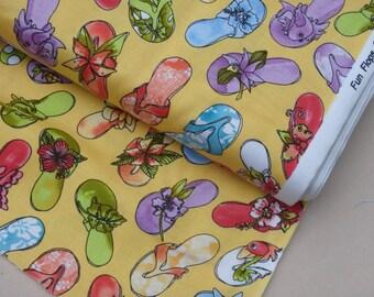 Flip Flops, Loralie Designs Fun Flops, Flip Flops on Sunshine Yellow, by the half yard