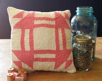 No. 43 Decorative Pillow, Bright Valentine Pink Antique Churn Dash Quilted Pillow