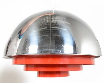 Danish Mid Century Modern Chrome Jo Hammerborg Milieu Dome Pendant