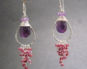 Hammered drops with rubies and amethyst Aphrodite 68