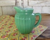 Hazel Atlas Platonite Pitcher Moderntone 1930s White Green Glass Syrup Creamer Retro Kitchen Cottage Farmhouse Decor Serving
