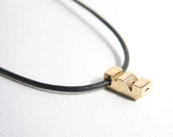 Vintage Brass Whistle Pendant on Thick Black Leather