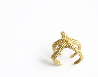 Fabulous Gold Starfish Ring Wrap Around Adjustable Textured Brass