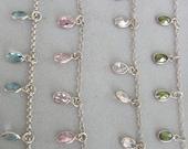 Silver Swarovski Necklace - White Pink Blue Green Necklace *