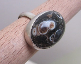 Sterling Silver Agate turtle Ring - Handmade jewelry - Natural stone - Size 6 1/2