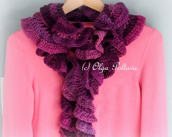 Petunia Ruffled Scarf Crochet Pattern, Crochet Scarf Pattern, Very Easy, Instant PDF Download