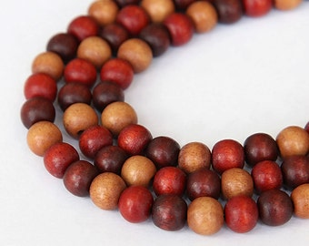 Dyed Wood Beads, Autumn Mix, 8mm Round - 15.5 inch Strand - eW862-8