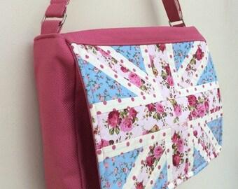 Pink floral Union Jack messenger bag