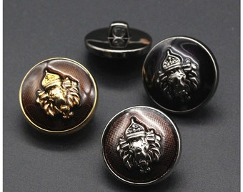 6 pcs 0.59~0.91 inch High-grade Retro Black/Brown+Gold/Silver Lion Crown Plastic Shank Buttons for Suits Coats