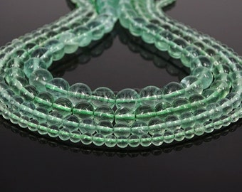Grade AAA Natural Green Fluorite Gemstone Round Beads 15.5'' 4mm 6mm 8mm 10mm 12mm Great For Jewelry Design