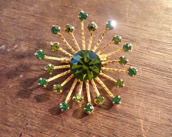 Green Rhinestone Starburst/ Sunburst Pin/Brooch