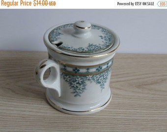 ON SALE Antique Jam Jelly Jar With Lid / Anchor Pottery / 1900 Edwardian / Semi Porcelain / Teal Flowers Floral