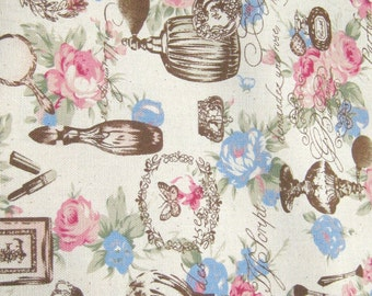 Perfume Bottle Fabric,  Cotton Fabric, Fabric By The Yard, Vintage Style Cotton Fabric, Floral Cotton Fabric, Butterflies Fabric