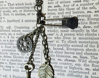 Skeleton Key and Leaf Steampunk Collection Necklace