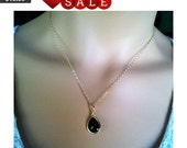 Black Onyx long teardrop Gold Pendant, Charm,Necklace, wedding necklace