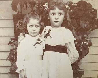 Somber Little Girls Antique Photo by Cole, Malta Bend, MO