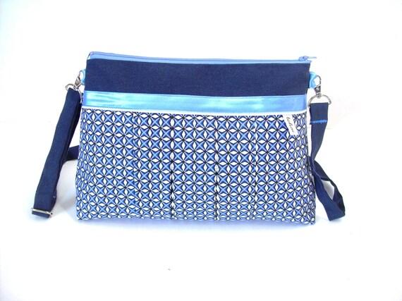 Sac A Main Blanc Et Bleu : Sac a main bleu et blanc motifs geometriques