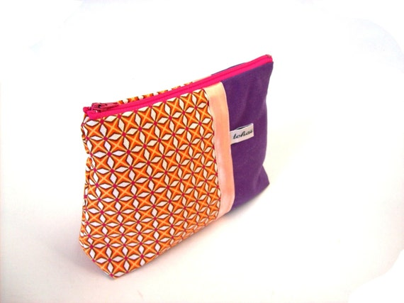 make up case purple and orange graphic fabric make up pouch. Black Bedroom Furniture Sets. Home Design Ideas