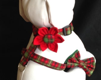 Dog Harness Red And Green Tartan Flower/Bow Tie Set - Size XS, S, M