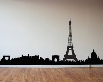 Back To School SALE Paris Skyline - France - Travel Vinyl Wall Art Decal Custom Stickers for Homes, Classrooms, Offices, Kids Rooms