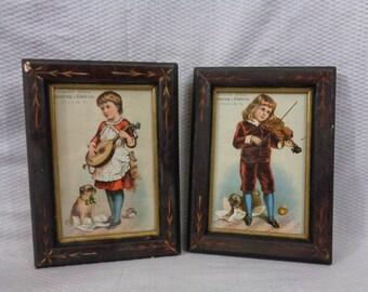 Vintage Victorian Era Framed Lithograph Advertisements, Framed Advertisement Cards