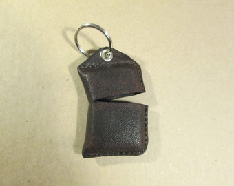 Flip Top Lighter Leather Key Fob Case