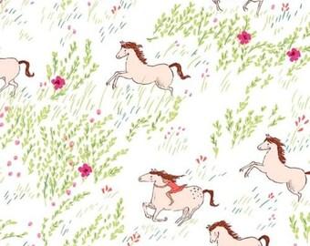 Fat Quarter Summer Ride Horses White Cotton Quilting Fabric Michael Miller