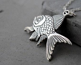 Silver Pendant Necklace   Fish Pendant Necklace