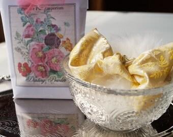 CLEAR Pressed Glass Powder Dish with  Silk Brocade Powder Puff and Dusting Powder (Gift Set)